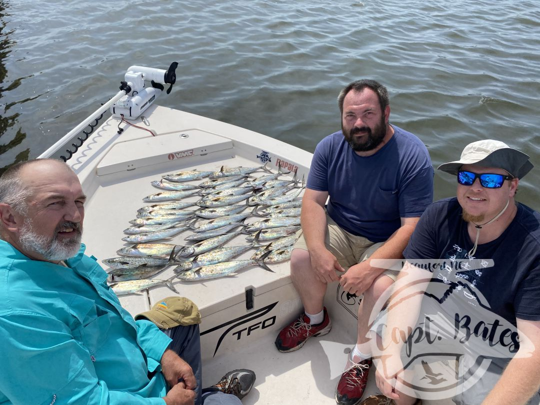 Windy day didn't bother this crowd and we were able to fill the cooler with Spaniards we found in calm protected waters. Great times with return clients!