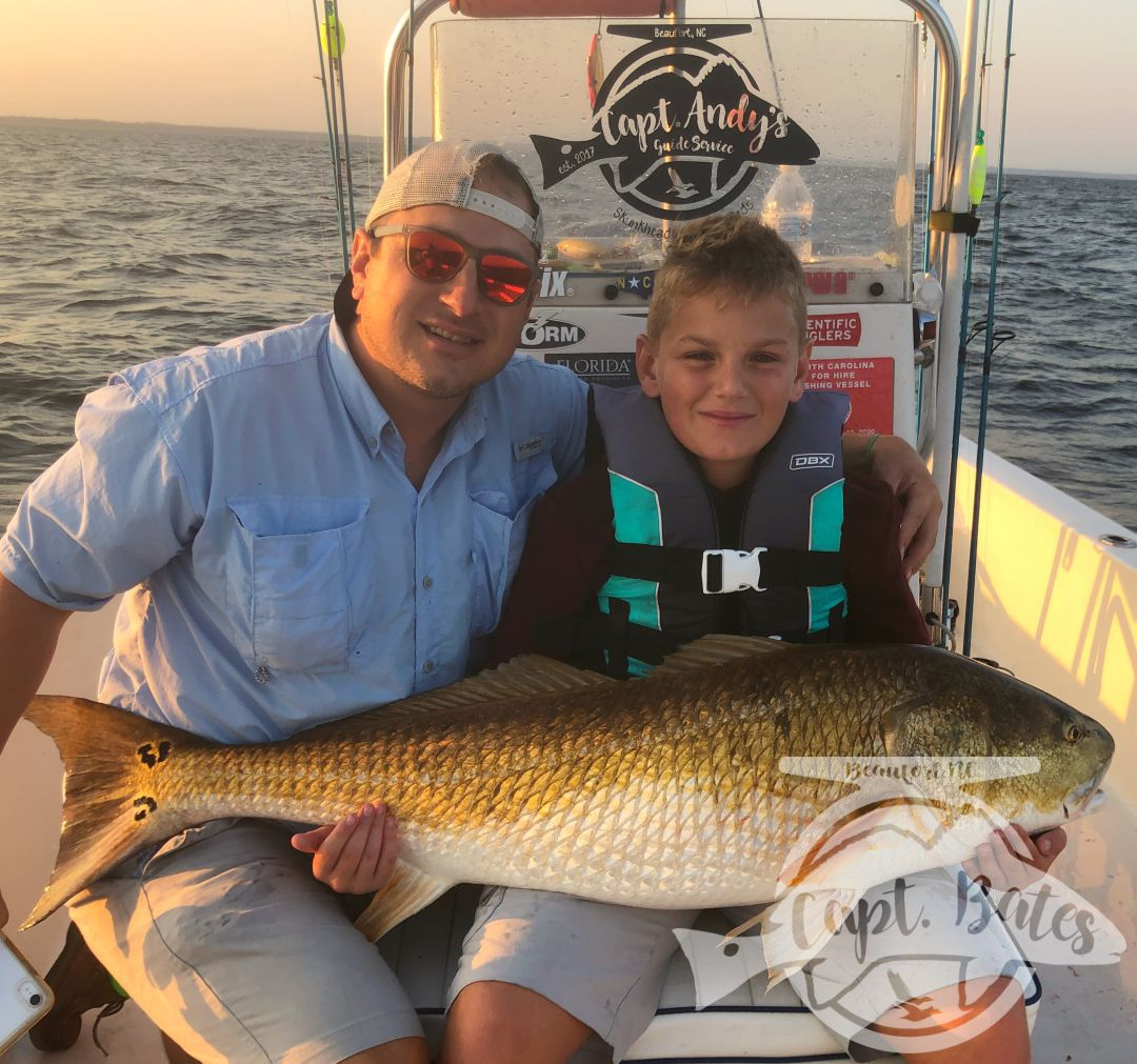 Bumpy start but Conner and his dad Ryan did excellent and put some trophy drum in the boat, despite the rough conditions!  I love seeing the youngins that are passionate about fishing!   Ryan landed a tagged redfish as well!!