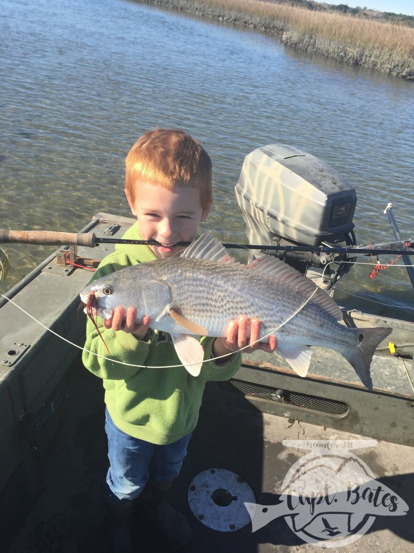 His first ever redfish on the fly!