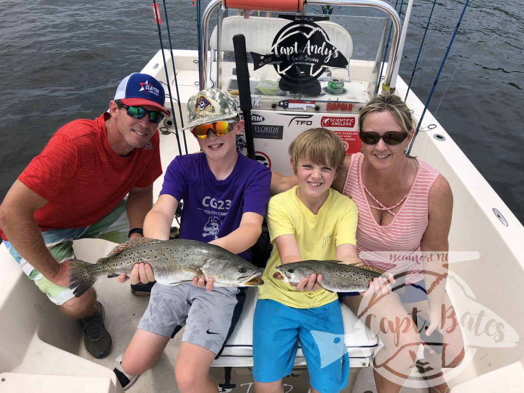 Great day fishing with this crowd today! Dad and the oldest have duck hunted with me in the past, momma and the youngest joined us for some inshore fun! The fish cooperated with one stud caught by Lucas on topwater, I taught him how to walk the dog and he reaped the reward! We decided to mainly trout fish instead of big drum fishing to keep the youngins interested, we caught speckled trout, puppy drum, and flounder!