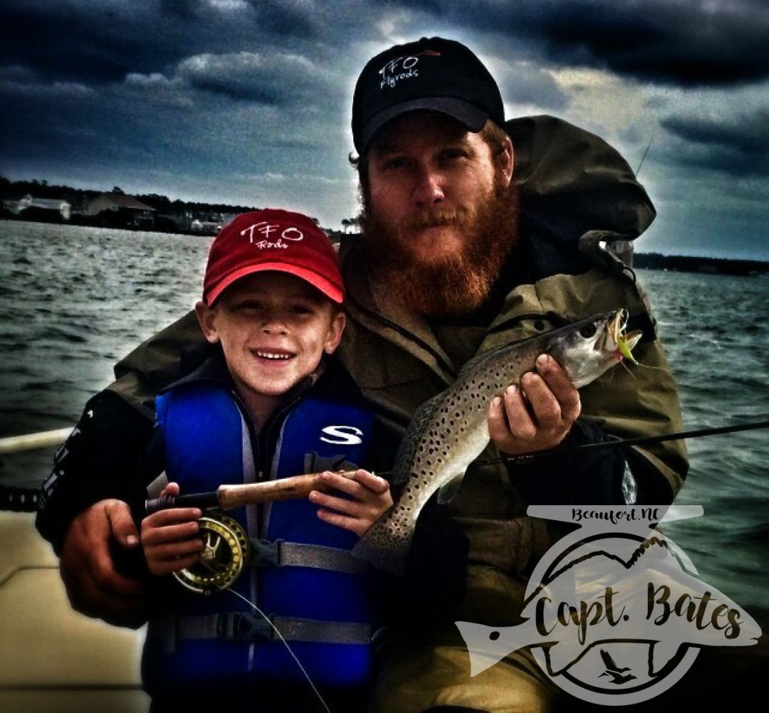 Father, son, and many specks on the fly rod in the Winter!