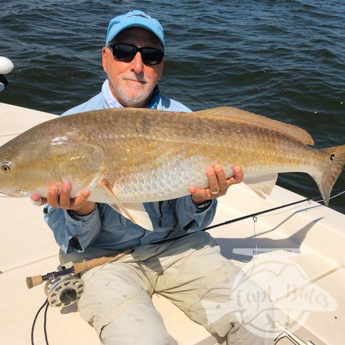 Mr Mike travels all over the world fly fishing, including some other world class redfish destinations, but his time ever fishing the Neuse River he caught his two biggest redfish ever! Such a pleasure guiding him despite the tough conditions!