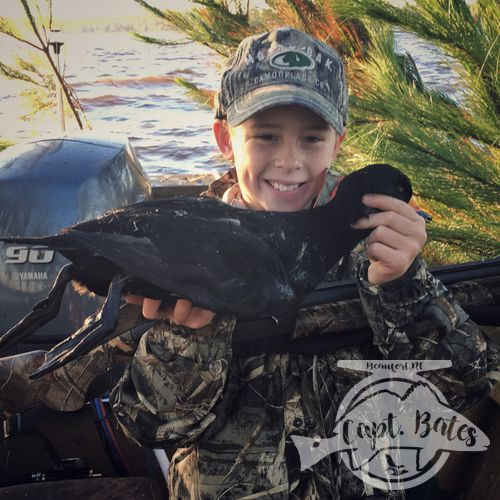 Buddy Showing off a stud black scoter drake!