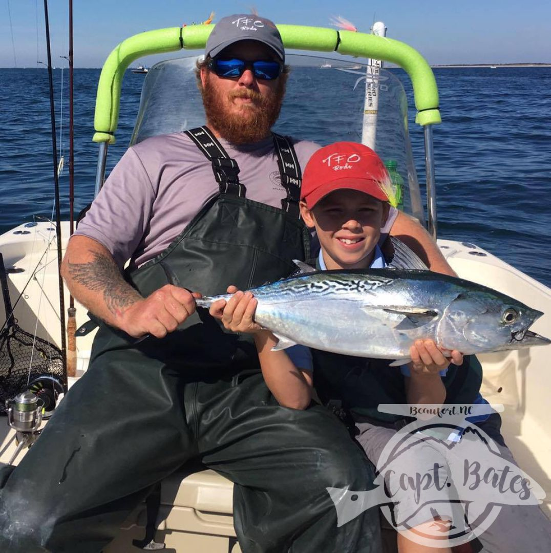 Great day with my son Buddy at the Cape Lookout False Albacore festival, he got second in the kids division by half a fish, the tax man got his last one.