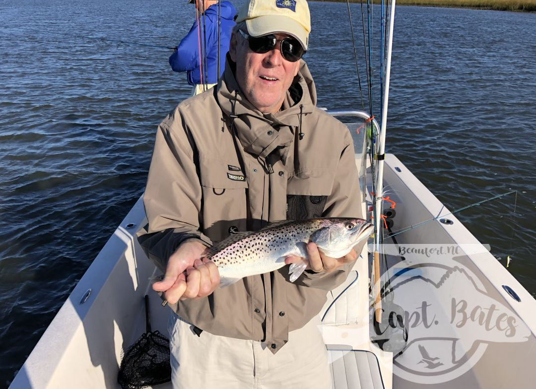 The plan was to get out the inlet and chase false albacore, but a giant swell coming from the South popped up over night. Stiff NW wind and big swell made the inlet uncomfortable and my crew decided to take the more relaxing route.  We never got on any big schools, but caught some nice speckled trout at every stop. Had a fun day talking to these guys hearing about there fishing adventures all over the world.  Trout fishing this fall has been and continues to be excellent!