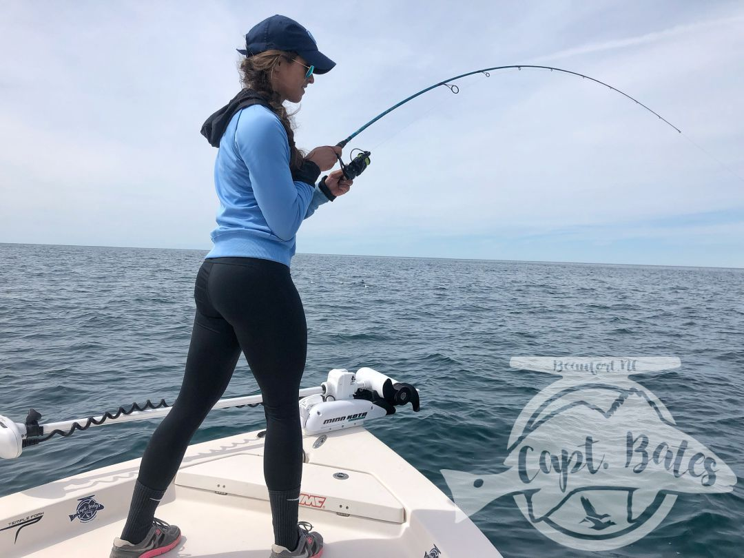 Shay bowed on a good Albie on a Temple Fork Outfitter rod and a Florida Fishing Product Osprey 3000