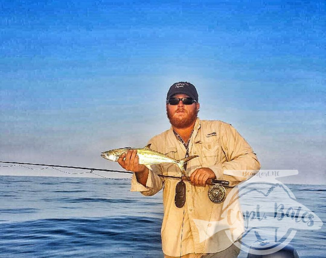 Cape Lookout Spanish mackerel on the fly on a slick cam day!