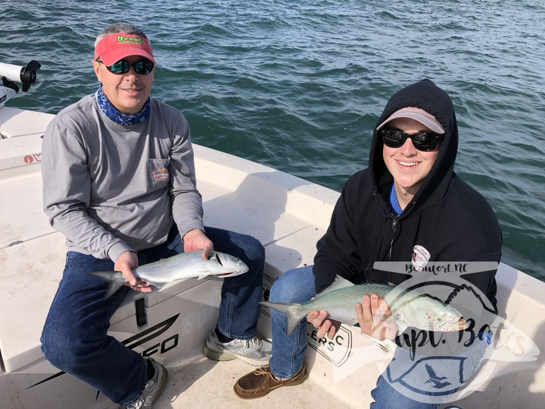 Had a great father and son trip, with these guys from Kentucky. We hunted false albacore that proved hard to find, we decided to make a pit stop and catch some nice sized bluefish for a while. After catching a bunch of blues every cast for a while, we went on the prowl again looking for albies.  We found as many albies as you could ever want, they were being extremely picky and required perfect casts and retrieve. We hooked two, got one to the boat and lost it.  Frustrating, but they had a blast trying and got to feel the fight that fuels the addiction inside of us Albie heads!